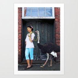 Rein It In - Ostrich Oda Art Print