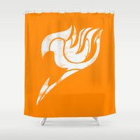 fairy tail Shower Curtains featuring Fairy Tail Segmented Logo (Guild Hall) by JoshBeck