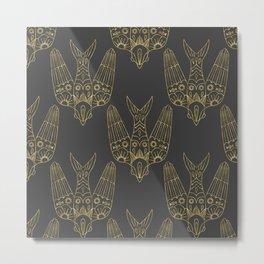 Gold Bird Pattern Metal Print