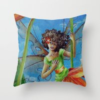 marianna Throw Pillows featuring Marianna - Heliconia Haute Couture by Lauralin Maynard
