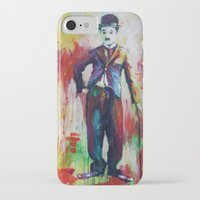 charlie chaplin iPhone & iPod Cases featuring Charlie Chaplin by Marta Zawadzka