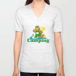 Cartoon Brown Bear camping Unisex V-Neck