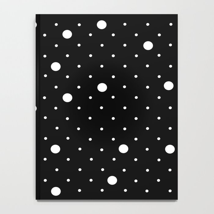 Pin Point Polka Dots White on Black Notebook
