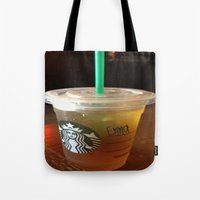 starbucks Tote Bags featuring Starbucks Emma by Amanda Byrnes