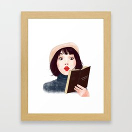 French woman with book Framed Art Print