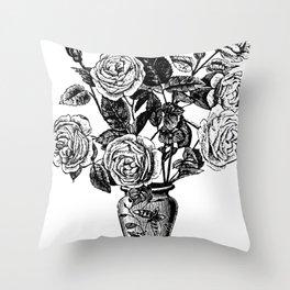 Vintage Roses Vase Throw Pillow