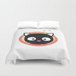 Black Cute Cat With Hearts Duvet Cover