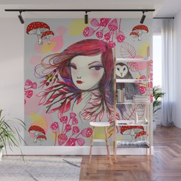 Red Owl Wall Mural