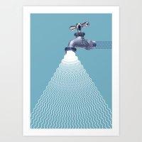 waterfall Art Prints featuring Waterfall by Shkvarok