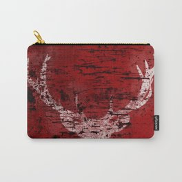 Industrial White Deer Silhouette on Red A313 Carry-All Pouch