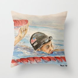 Lily King_ American Swimmer Throw Pillow