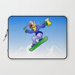 Snowboarding with a beer Laptop Sleeve