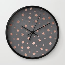 Rose gold Christmas stars geometric pattern grey graphite industrial cement concrete Wall Clock
