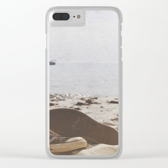 Dream of summer Lonely shoes at the Beach- Summer day- #Society6 Clear iPhone Case