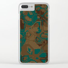 Peacock and Brown Clear iPhone Case