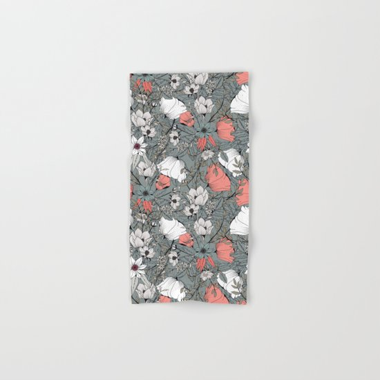 Seamless pattern design with hand drawn flowers and floral elements Hand & Bath Towel