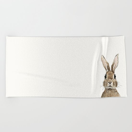 cute innocent rabbit Beach Towel