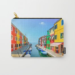 Venice, Burano island canal, colorful houses and boats, Italy Carry-All Pouch