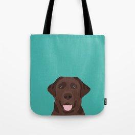 Chocolate Lab peeking dog head labrador retriever must have funny dog breed gifts Tote Bag