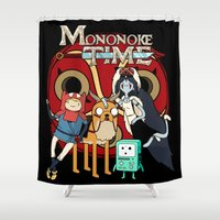 mononoke Shower Curtains featuring Mononoke Time by RebelArtCollective