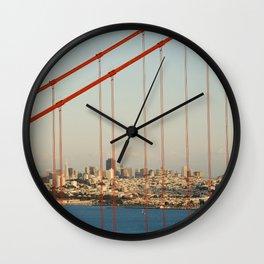 Golden San Gate Francisco Bridge Wall Clock