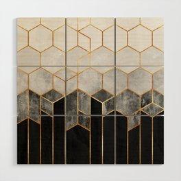 Charcoal Hexagons Wood Wall Art