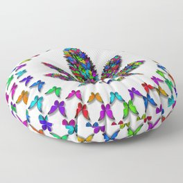 Butterflies Cannabis Leaf 2 Floor Pillow