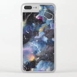 Galaxy sky in watercolors with star constellations Clear iPhone Case