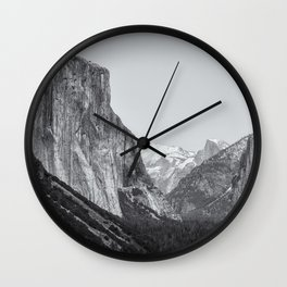 El Capitan, Half Dome and Sentinel Rock from Tunnel View bw Wall Clock