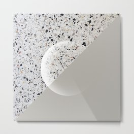 Minimal Terrazzo Moon on warm grey #minimalart Metal Print
