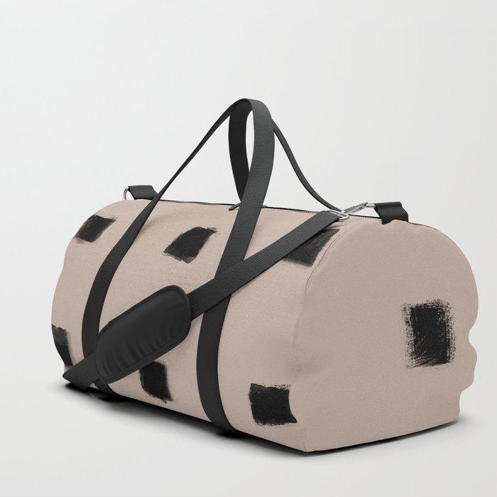 Polka Strokes Gapped - Black on Nude Duffle Bag