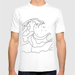 Minimal Line Art Ocean Waves T-Shirt