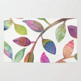 Colorful Leaves Watercolor Rug