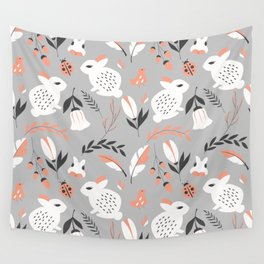Rabbits and Flowers 007 Wall Tapestry