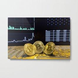 Bitcoin trio circuit market charts clean Metal Print