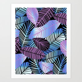 Silver Blue Pink Leaves Art Print