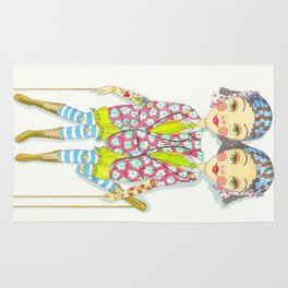 Circus Siamese twins Rug