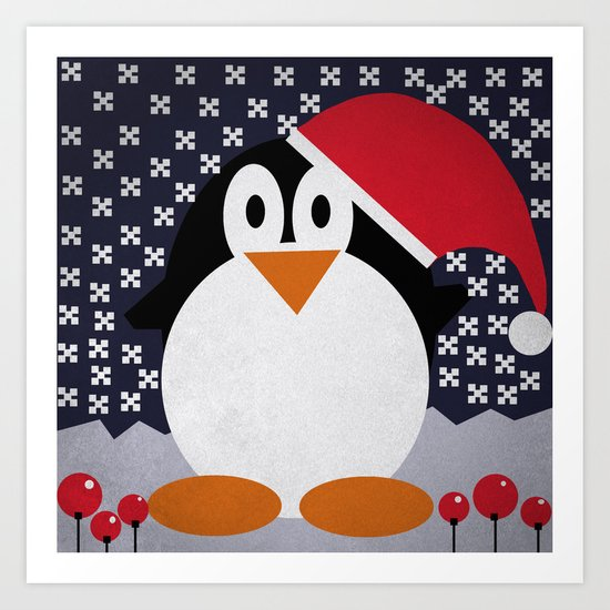 christmas pinguin Art Print