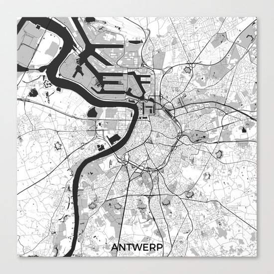 Antwerp Map Gray Canvas Print
