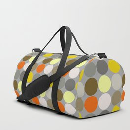 Mid-Century Giant Dots, Gray, Gold and Orange Duffle Bag