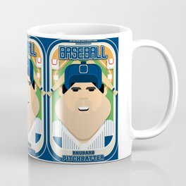 Baseball Blue Pinstripes - Rhubarb Pitchbatter - Victor version Coffee Mug