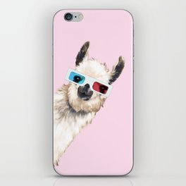 Sneaky Llama with 3D Glasses in Pink iPhone Skin