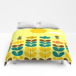 Flowers with bees Comforters