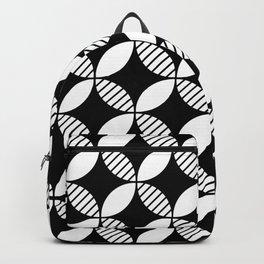 Mid Century Modern Geometric Flower Pattern Black and White 2 Backpack