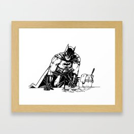 Cleaning up Gotham City Framed Art Print
