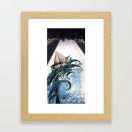 Origami Boat on a Wave Framed Art Print