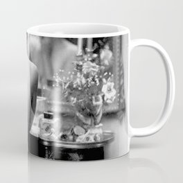 Ziegfeld Girl at her Dressing Table back stage, Paris black and white photograph Coffee Mug