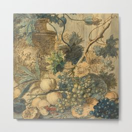 "Jan van Huysum ""Still life with flowers and fruits"" (drawing) Metal Print"