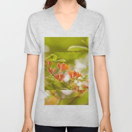 Azalea Glowing Embers orange flowers Unisex V-Neck