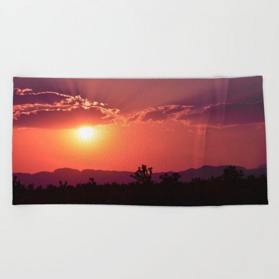 Desert Sunset Silhouettes Beach Towel